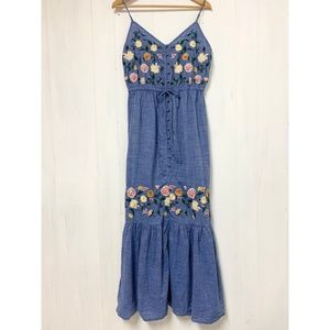 Forever 21 Floral Embroidered Maxi Dress Size L